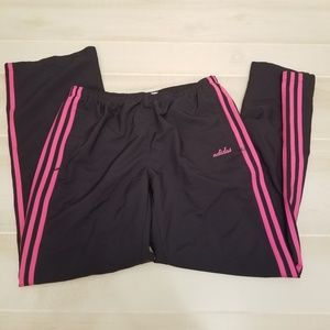 {M} Adidas 3 Pink Stripe Black Lined Track Pant